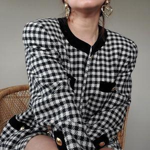 Escada Wool Checkered/Houndstooth Blazer Suit